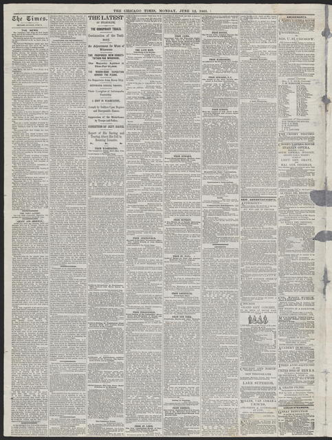 The Chicago Times, [newspaper]. June 12, 1865.