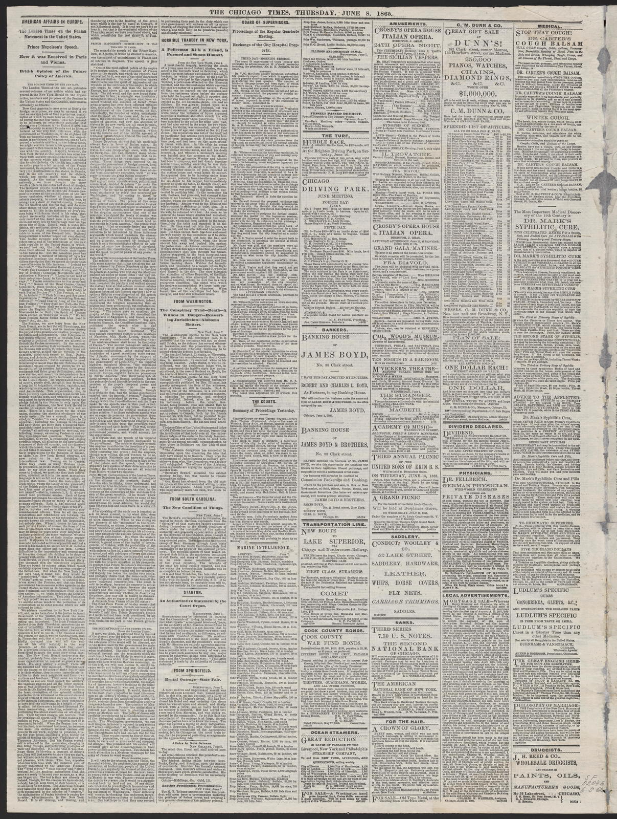 The Chicago Times, [newspaper]. June 8, 1865.
