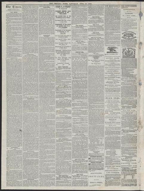 The Chicago Times, [newspaper]. June10, 1865.