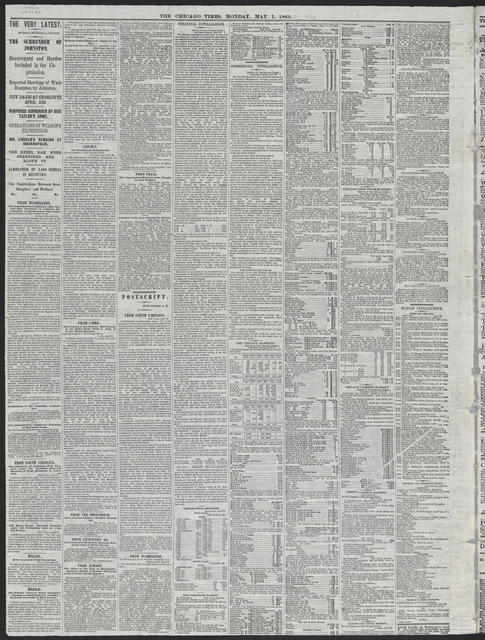 The Chicago Times, [newspaper]. May 1, 1865.
