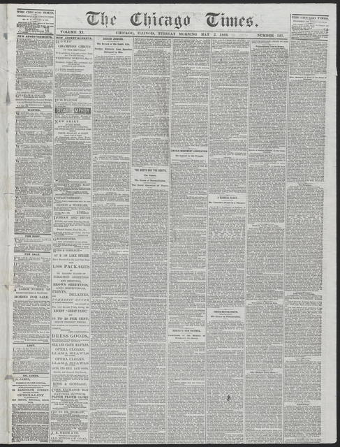 The Chicago Times, [newspaper]. May 2, 1865.