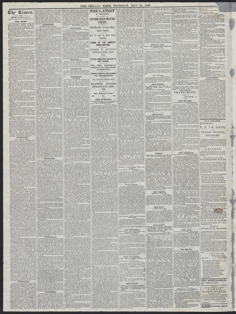 The Chicago Times, [newspaper]. May 25, 1865.