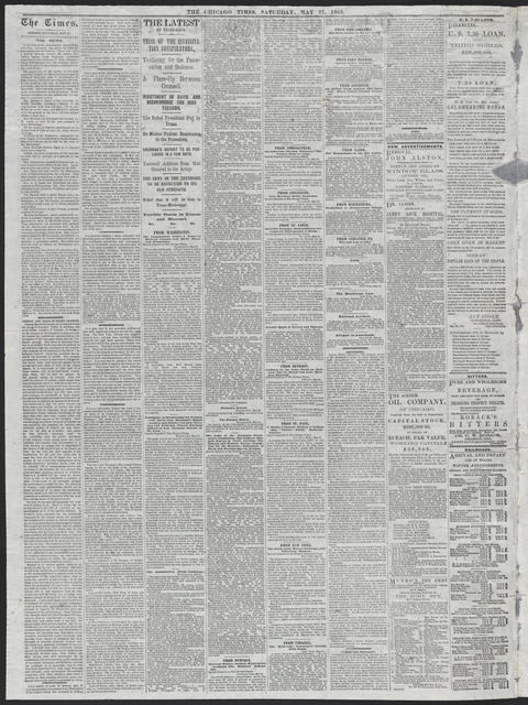 The Chicago Times, [newspaper]. May 27, 1865.