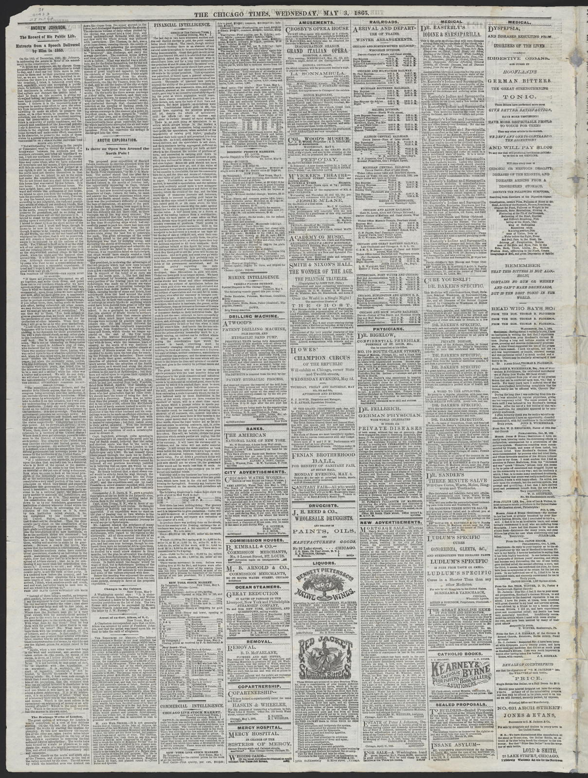 The Chicago Times, [newspaper]. May 3, 1865.