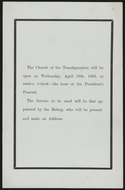The church of the transfiguration will be open on Wednesday, April 19th, 1865.