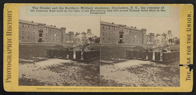 The Citadel and the Southern Military Academy, Charleston, S.C., the remains of the concrete wall built in the time of the Revolution, and 600 pound Blakely Solid Shot in the foreground