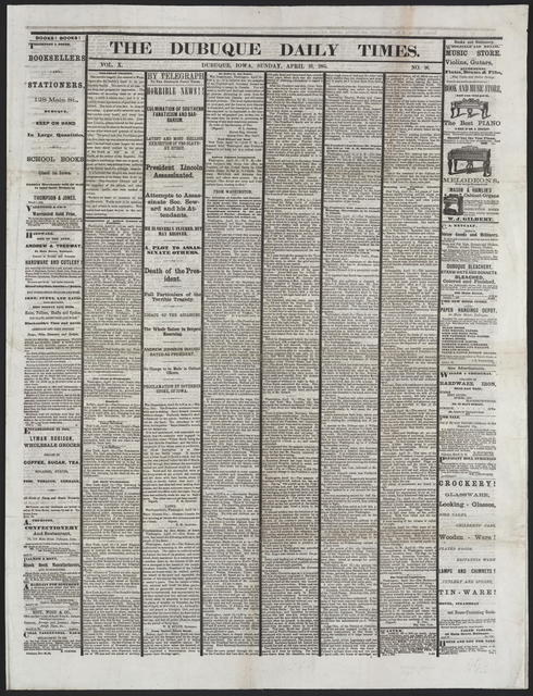The Dubuque Daily Times, [newspaper]. April 16th, 1865.