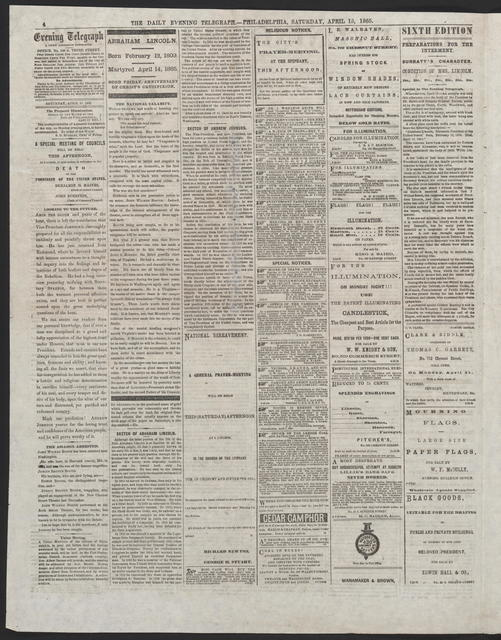 The Evening Telegraph, [newspaper]. April 15, 1865.
