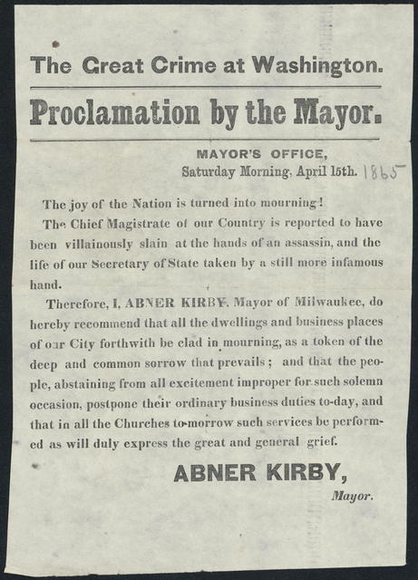 The great crime at Washington. Proclamation by the Mayor's office.