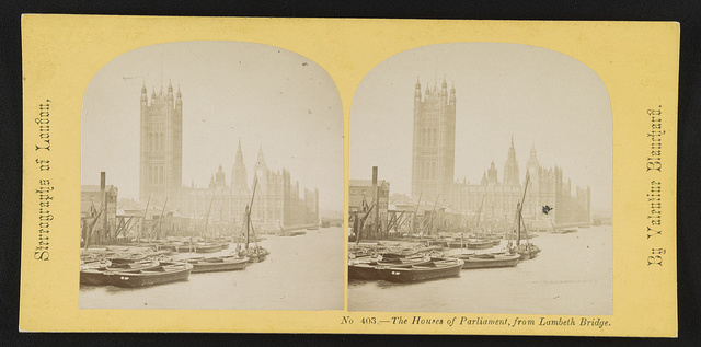 The Houses of Parliament, from Lambeth Bridge / By Valentine Blanchard.