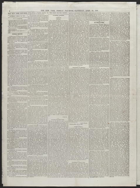 The New York Day Book, [newspaper]. April 22nd, 1865.