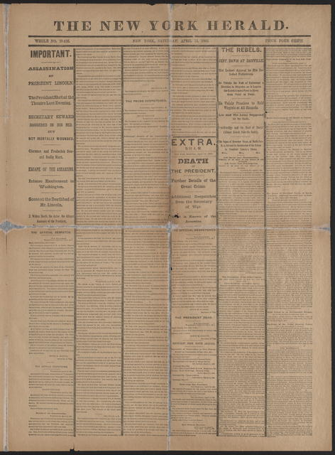 The New York Herald, [newspaper]. April 15, 1865.