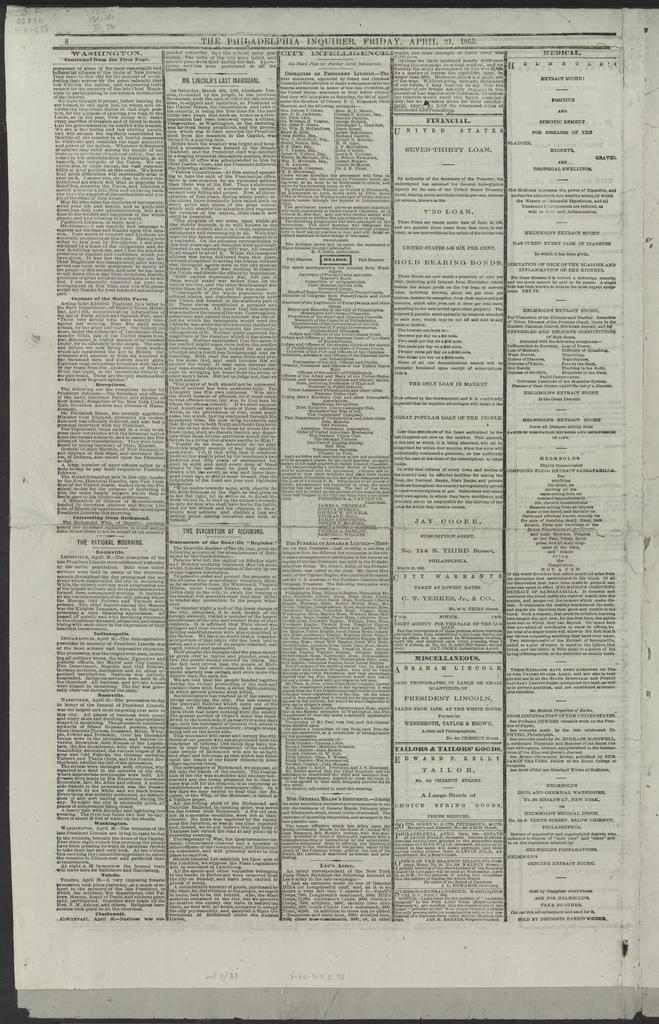 The Philadelphia Inquier, [Newspaper]. April 21,1865.