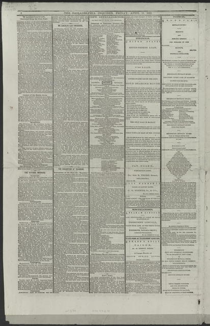 The Philadelphia Inquier, [Newspaper]. April 21,1865.