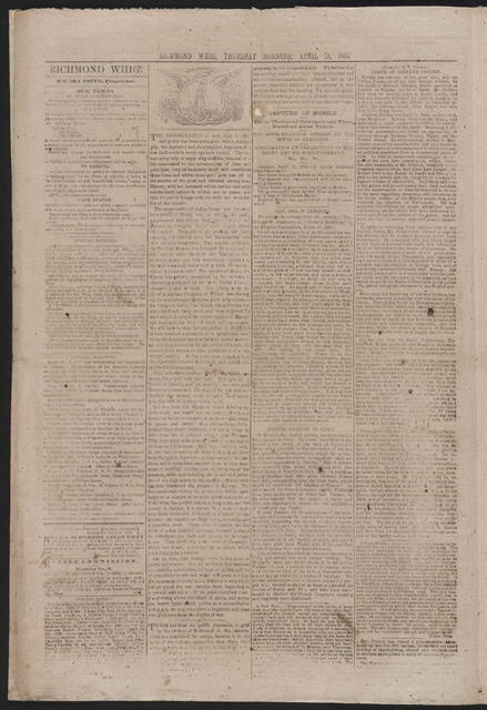 The Richmond Whig, [newspaper]. April 20, 1865.