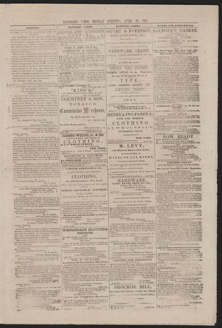 The Richmond Whig, [newspaper]. April 24, 1865.
