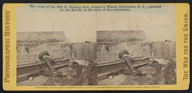 The ruins of the 600 lb. Blakely Gun, Frazier's Wharf, Charleston, S.C., exploded by the rebels at the time of the evacuation