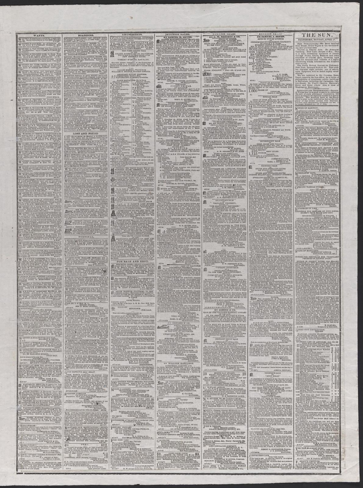 The Sun, [newspaper]. April 17th, 1865.