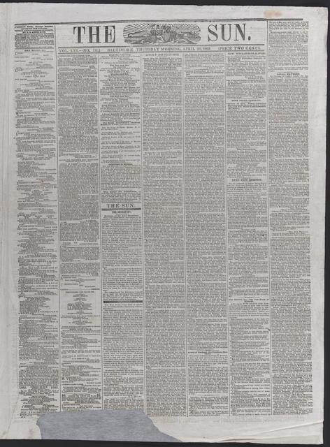 The Sun, [newspaper]. April 20th, 1865.