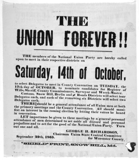 The Union forever! The members of the National Union party are hereby called upon to meet in their respective districts on Saturday, 14th of October ... George H. Richardson. Chairman Union State Central Committee for Worcester County, September