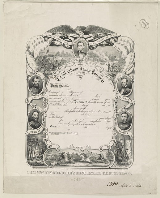 The Union soldier's discharge certificate