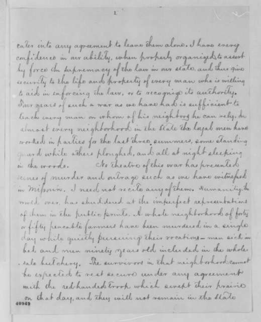Thomas C. Fletcher to Abraham Lincoln, Monday, February 27, 1865  (Reply to Lincoln's letter of Feb. 20 regarding military situation in Missouri)