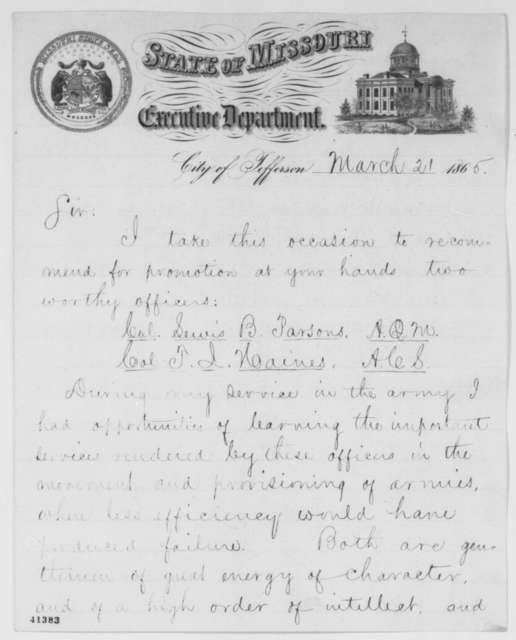 Thomas C. Fletcher to Abraham Lincoln, Tuesday, March 21, 1865  (Recommendations)