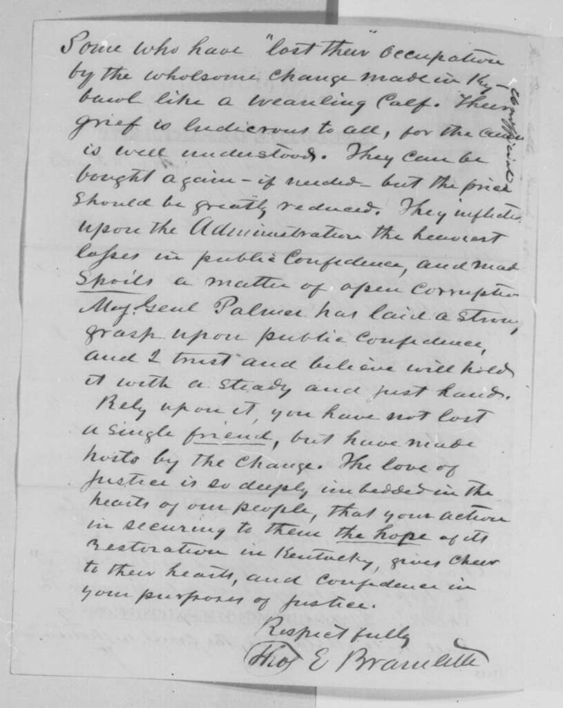 Thomas E. Bramlette to Abraham Lincoln, Thursday, March 02, 1865  (Kentucky's rejection of 13th Amendment)