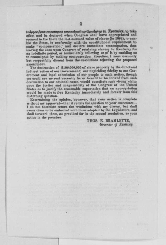 Thomas E. Bramlette to Kentucky Legislature, Wednesday, March 01, 1865  (Printed letter concerning 13th Amendment)