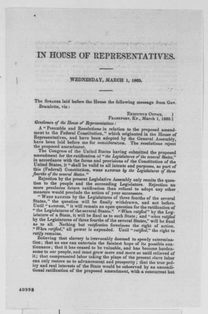 Thomas E. Bramlette to Kentucky Legislature, Wednesday, March 01, 1865  (Printed letter concerning 13th Amendment)