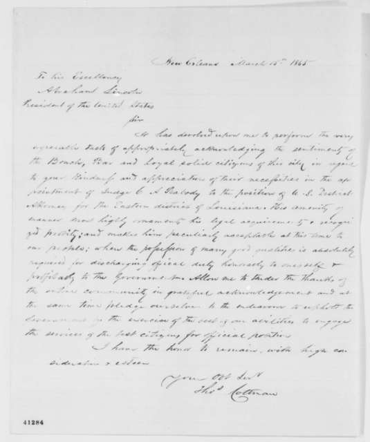 Thomas E. H. Cottman to Abraham Lincoln, Wednesday, March 15, 1865  (Appointment of Charles A. Peabody)