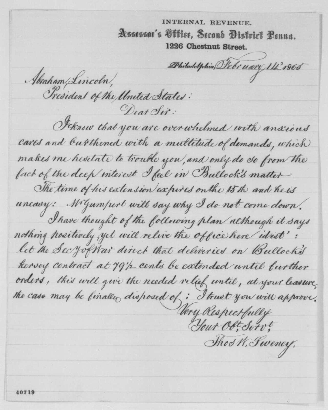 Thomas W. Sweney to Abraham Lincoln, Tuesday, February 14, 1865  (Bullock's case)