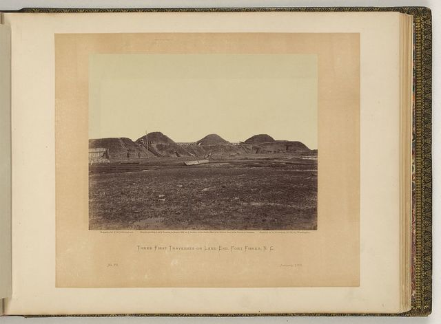 Three first traverses on land end, Fort Fisher, N.C. / negative by T.H. O'Sullivan, positive by A. Gardner.