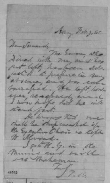 Thurlow Weed to William H. Seward, Tuesday, February 07, 1865  (New York politics)