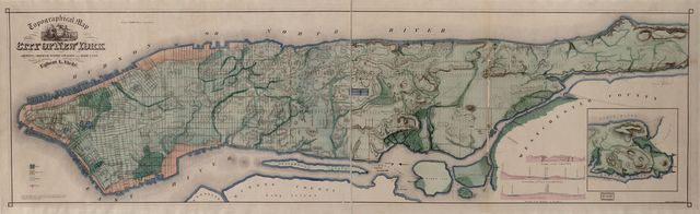 Topographical map of the City of New York : showing original water courses and made land /
