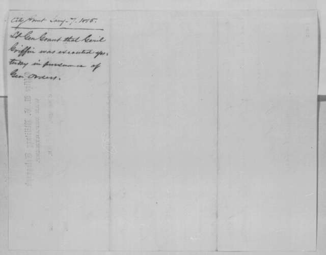 Ulysses S. Grant to Abraham Lincoln, Saturday, January 07, 1865  (Telegram concerning case of Waterman Thornton)