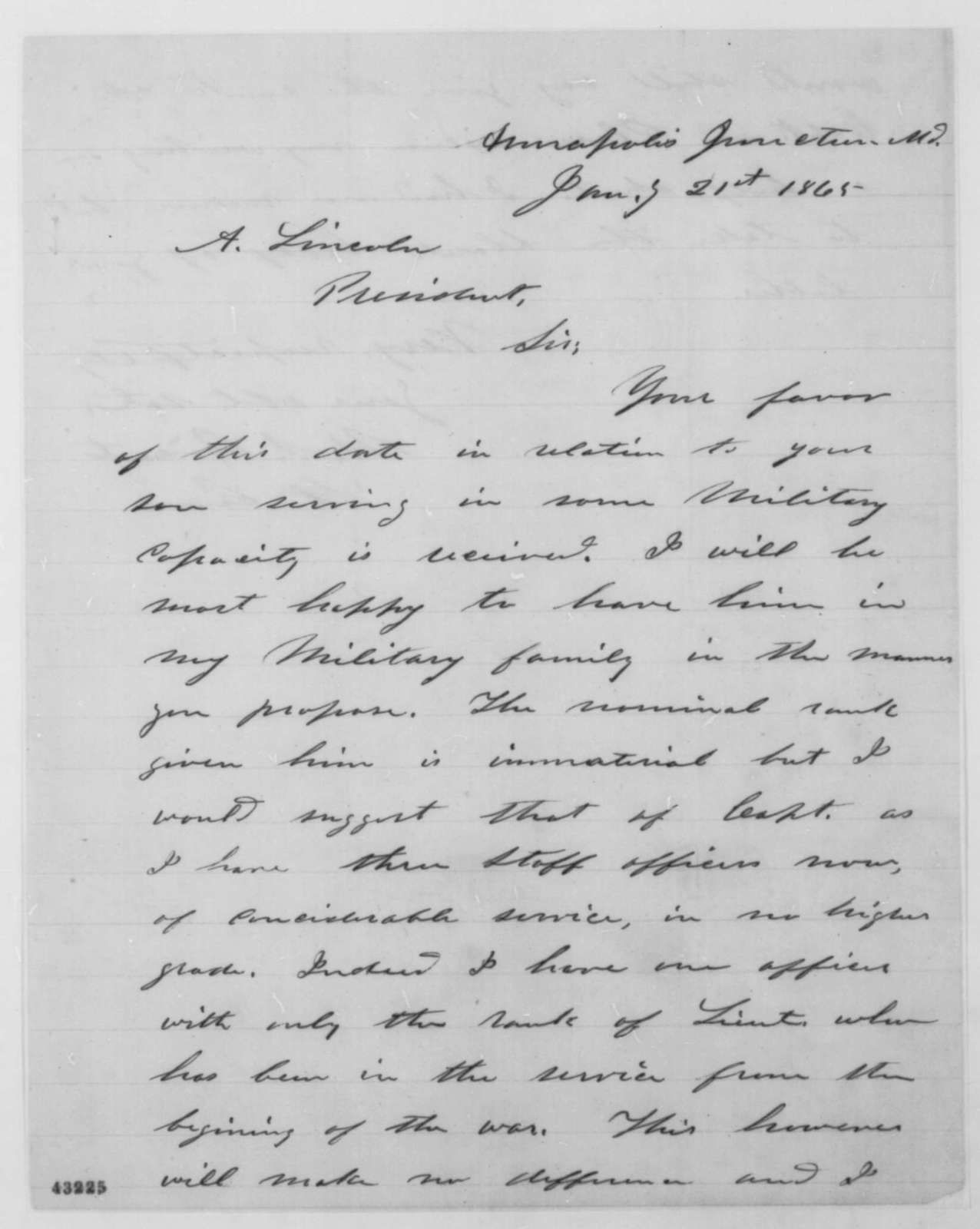 Ulysses S. Grant to Abraham Lincoln, Saturday, January 21, 1865  (Military appointment for Robert Todd Lincoln)