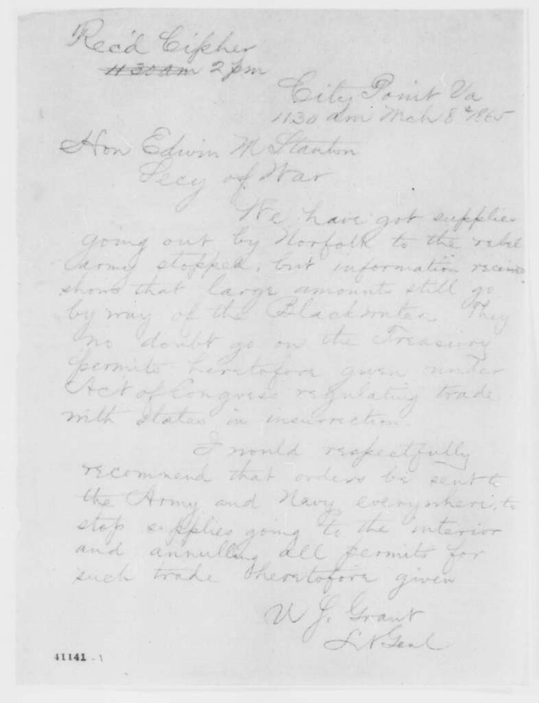 Ulysses S. Grant to Edwin M. Stanton, Wednesday, March 08, 1865  (Telegram concerning military affairs)