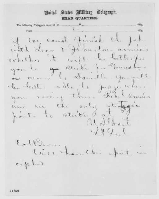 Ulysses S. Grant to William T. Sherman, Wednesday, April 05, 1865  (Telegram reporting military situation)
