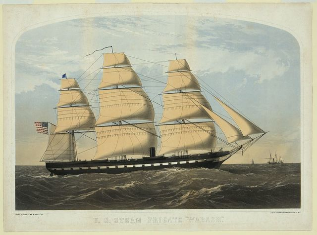 "U.S. steam frigate ""Wabash"" / from a painting by Wm. N. Maull, U.S.N. ; lith. of Shearman & Hart, 99 Fulton St. N.Y."