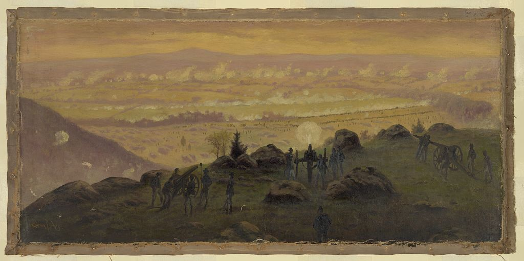 View from the summit of Little Round Top at 7:30 P.M. July 3rd, 1863 / Edwin Forbes.