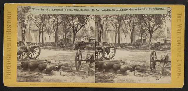 View in the Arsenal Yard, Charleston, S.C. Captured Blakely Guns in the foreground
