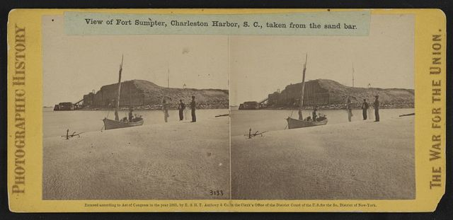 View of Fort Sumpter (i.e. Sumter), Charleston Harbor, S.C., taken from the sand bar