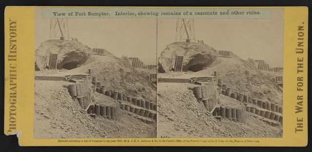 View of Fort Sumpter (i.e. Sumter). Interior, showing remains of a casemate and other ruins