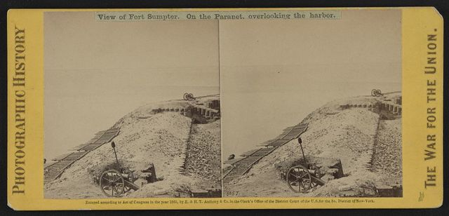 View of Fort Sumpter (i.e. Sumter). On the parapet, overlooking the harbor