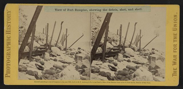 View of Fort Sumpter (i.e. Sumter), showing the debris, shot, and shell