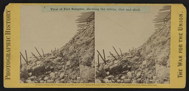 View of Fort Sumpter (i.e. Sumter), showing the debris, shot and shell