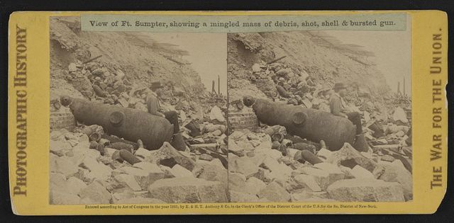 View of Ft. Sumpter (i.e. Sumter), showing a mingled mass of debris, shot, shell & bursted gun