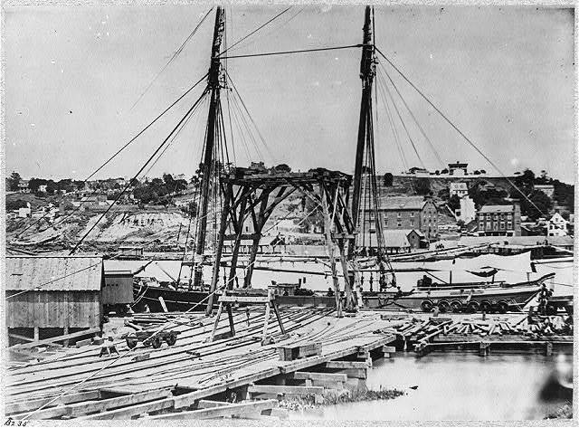 View on the dock on south side of James River opposite Rocketts, Richmond, Va., April, 1865