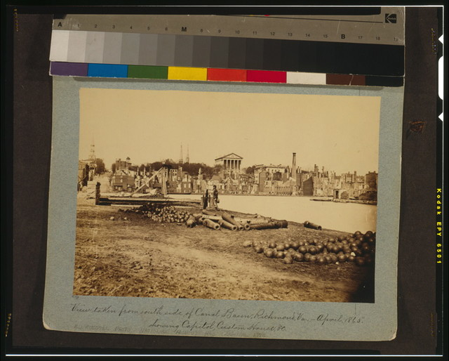 View taken from south side of Canal Basin, Richmond, Va., April, 1865, showing Capitol, Custom House, etc.
